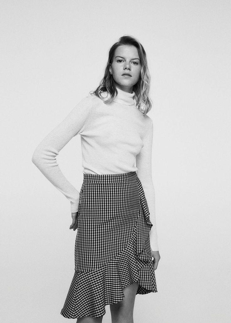 Ruffled checked skirt - Women   MANGO USA