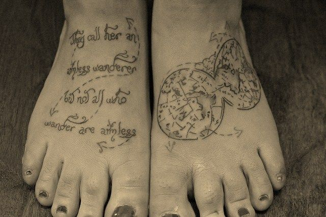 Travel Quote Tattoo: Tattoo Ideas, Quotes Tattoo, Aimless Wandering, Wanderlust Tattoo, Feet Tattoo, Body Art, Tattoo'S, Travel Quotes, Travel Tattoo