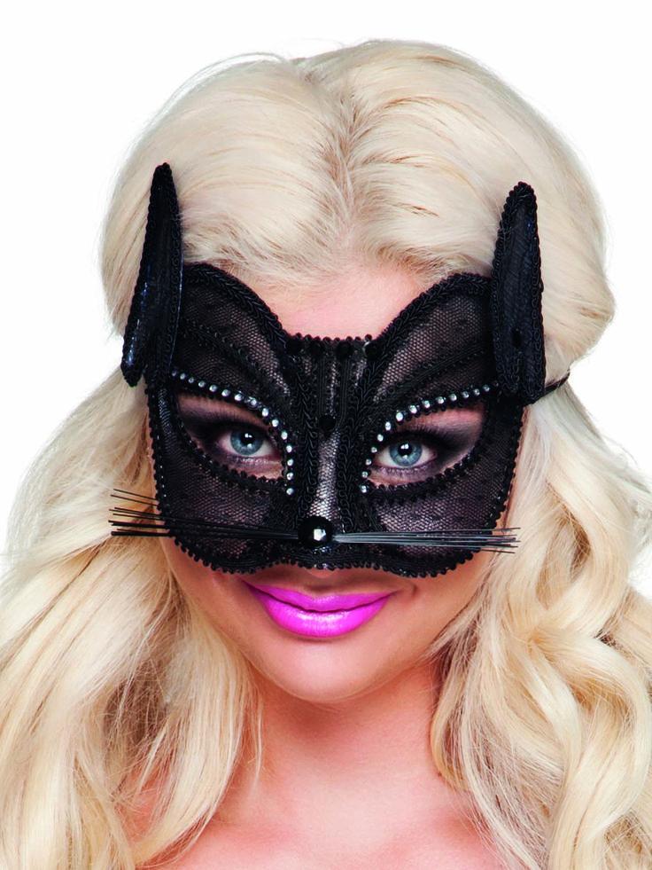Antifaz de gato de encaje negro mujer: Este antifaz sexy representa a un gato.Es un antifaz de plástico transparente cubierto con encaje negro y galones negros.Se sujeta con una goma.Es un accesorio perfecto para tu próxima...