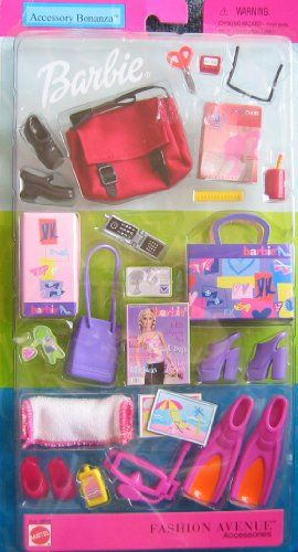 Barbie Fashion Avenue Accessories ACCESSORY BONANZA w School & Beach Stuff! (2002) Barbie http://www.amazon.com/dp/B003W08CL4/ref=cm_sw_r_pi_dp_FovXtb1AE5QYQW2B