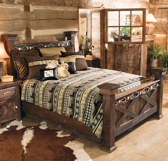 Antler Barnwood Bed Full Found In Our Rustic Rustic Beds At Home Furniture Design Ideas