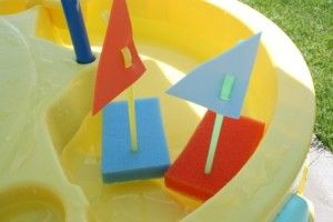 Sponge boats! Sponge, straw, and piece of craft paper.