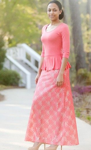 Womens modest long a line skirt with lace overlay floral print and metallic finish.