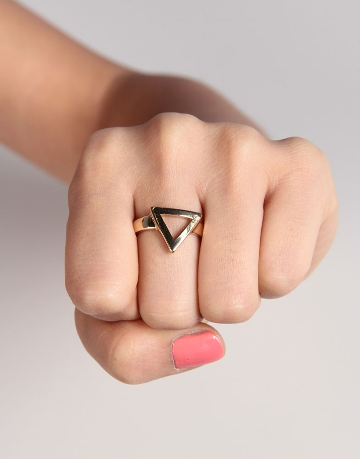 rose gold triangle outline ring