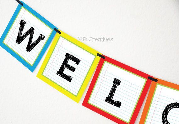 Welcome Back To School Banner - School Supplies - DIY Printable Digital File on Etsy, $5.00