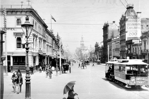 Bourke Street, Melbourne, with Nicholson Street cable tram, 1899. Photograph courtesy The National Archives UK.