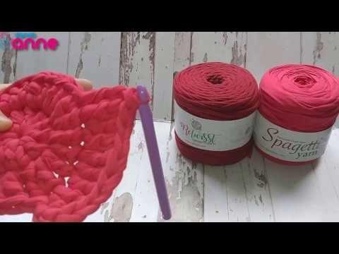 Spagetti Yarn Penye İplik Kiti ile Puf Yapımı (Tığ ile) - YouTube