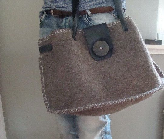 SOLD Eco wool felt leather tote bag women recycled by JJePa