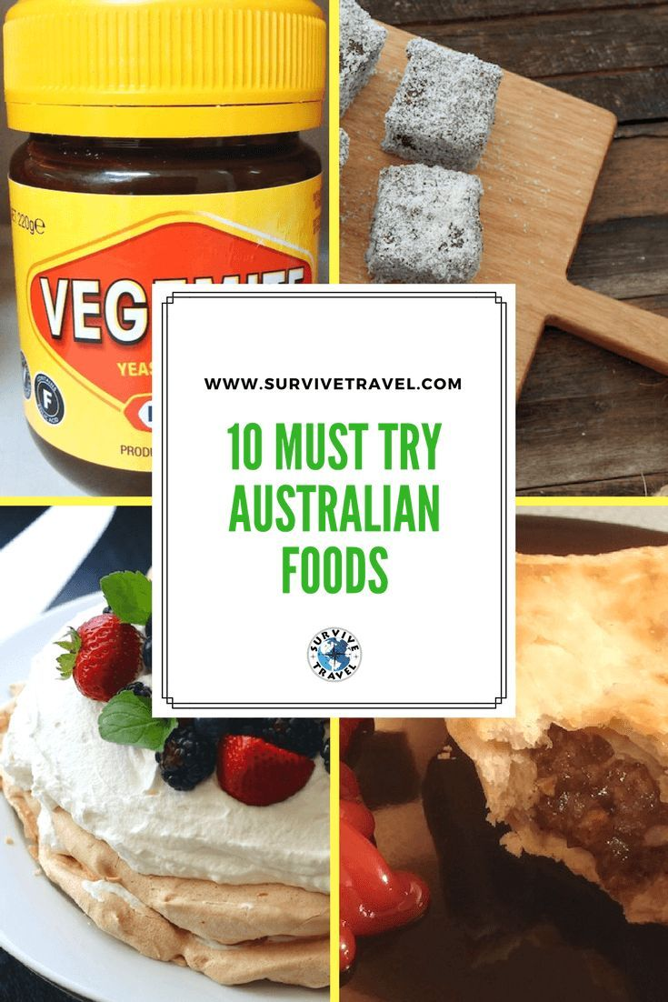 Check out these 10 must-try Australian foods #australia #food https://www.survivetravel.com/australian-foods Australian Foods Traditional, Australian Foods For Kids, Australian Foods Authentic, Australian Foods Popular PIN THIS FOR LATER!
