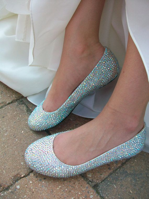 Sparkling Flats Crystal Wedding Ballet Shoes Glass by Parisxox, $240.00