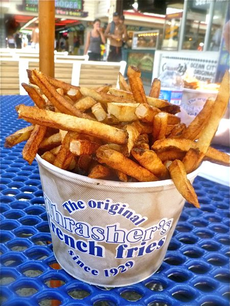 thrasher's fries with vinegar. boardwalk. ocean city, md