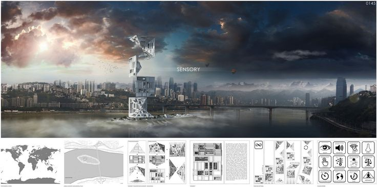 "eVolo 2016 Honorable Mention  Project by: Alexandr Pincov, Heng Chang MOLDOVA, CHINA "" Sensory Skyscraper """