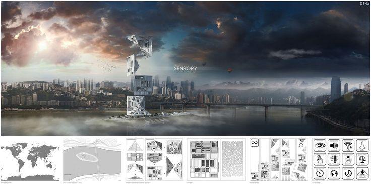 "eVolo 2016 Honorable Mention  Project by: Alexandr Pincov, Heng Chang MOLDOVA, CHINA "" Sensory Skyscraper """