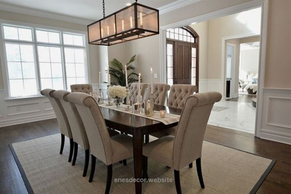 Transitional Dining Room With Tripton Dining Room Chair Wainscoting High Ceili Elegant Dining Room Modern Dining Room Dining Room Remodel