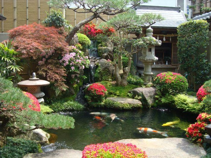 Japanischer Garten Gartenteich Koi Karpfen Steinlaternen Asalien Nadelbaume Japanischer Garten Garten Chinesischer Garten