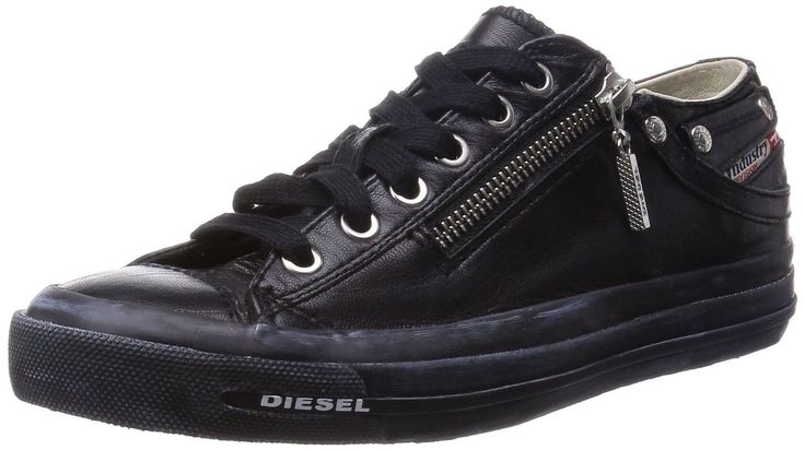 Diesel Expo Zip Black Womens Leather Lo Trainers Shoes-5. Diesel Expo-Zip Low womens leather trainers, classic trainer stylle with zip on the side. A perfect pair of leather trainers.