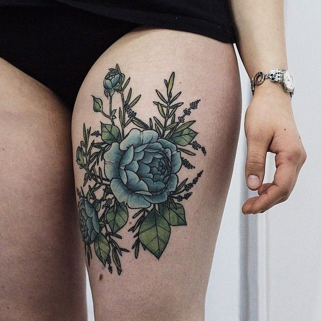 Olga Nekrasova blue roses with lavender tattoo