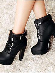 Mujer Zapatos PU Primavera Invierno Botas de Moda Botas Tacón Robusto Dedo redondo Botines/Hasta el Tobillo Para Casual Negro Amarillo