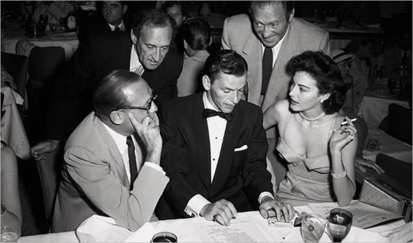 Frank Sinatra with Jack Benny, the Ritz Brothers and Ava Gardner in Las Vegas.