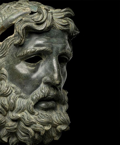 Head of Poseidon / Antigonos Doson, 227-221 BC.  bronze.  Greek, 3rd century BC.  Identified as Antigonos Doson. 263-221 BC.  King of Macedon.