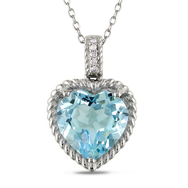 Miadora Sterling Silver Topaz and Diamond Heart Necklace, Women's