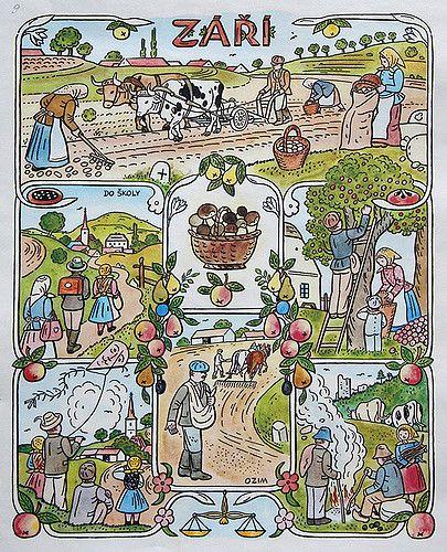 https://flic.kr/p/47DNFT | Josef Lada Calendar: September | josef lada. illustration. calendar. czechoslovakia. september