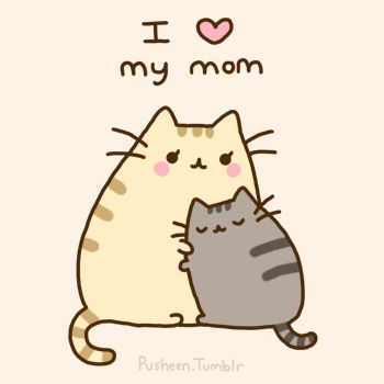 Pusheen the cat hugs his mom. I love my mom pose!! :) Awww! <3