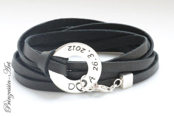 Armbänder - Männerarmband mit Gravur, 925 Silber, Namen, Mann - ein Designerstück von Prinzessin-Art bei DaWanda