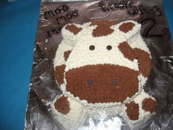 WOULD LOVE TO MAKE THIS:    I made this cow birthday cake for  my sones 2nd birthday.  I used two 9 in round cake pans one for the body of the cake then out of the other one i cut the head, ears, and feet.  I then made buttercream frosting and decorated the cake w/ a size 18 star tip