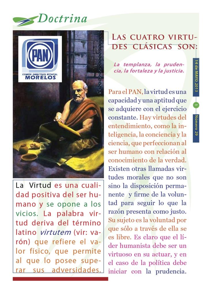"""Cápsula doctrinal número 29, editada por el CDE del PAN en Morelos, con el tema """"Las virtudes""""."""