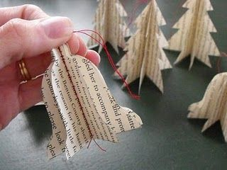 book page ornament - love the bells and trees <3 #Christmas #Holidays
