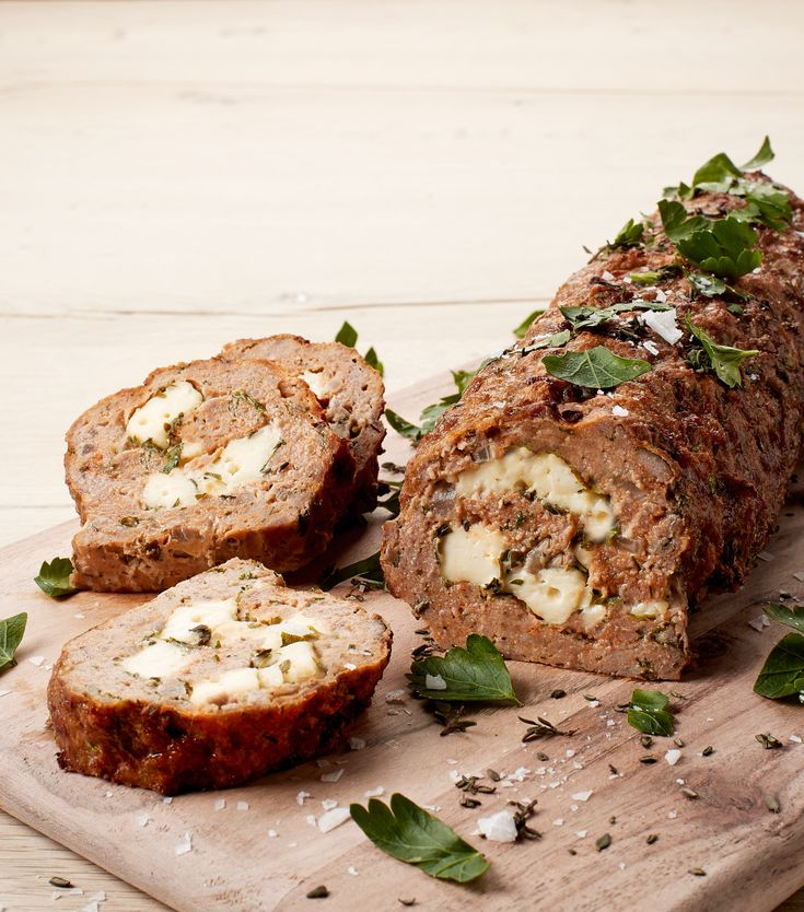 Meatloaf in a new way. Filled with  garlic, parsley and white cheese