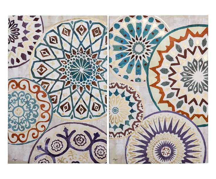 Set di 2 quadri in mdf laccato e canvas beige/viola/oro/arancione/verde/blu, 60x90x3 cm | Dalani Home & Living