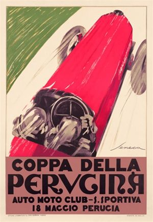 Pervgina Auto Moto Club by Senoca 1920 Italy - Beautiful Vintage Poster Reproductions. This vertical Italian transportation poster features a red car viewed from above racing up a white road next to green grass. Giclee Advertising Print. Classic Posters