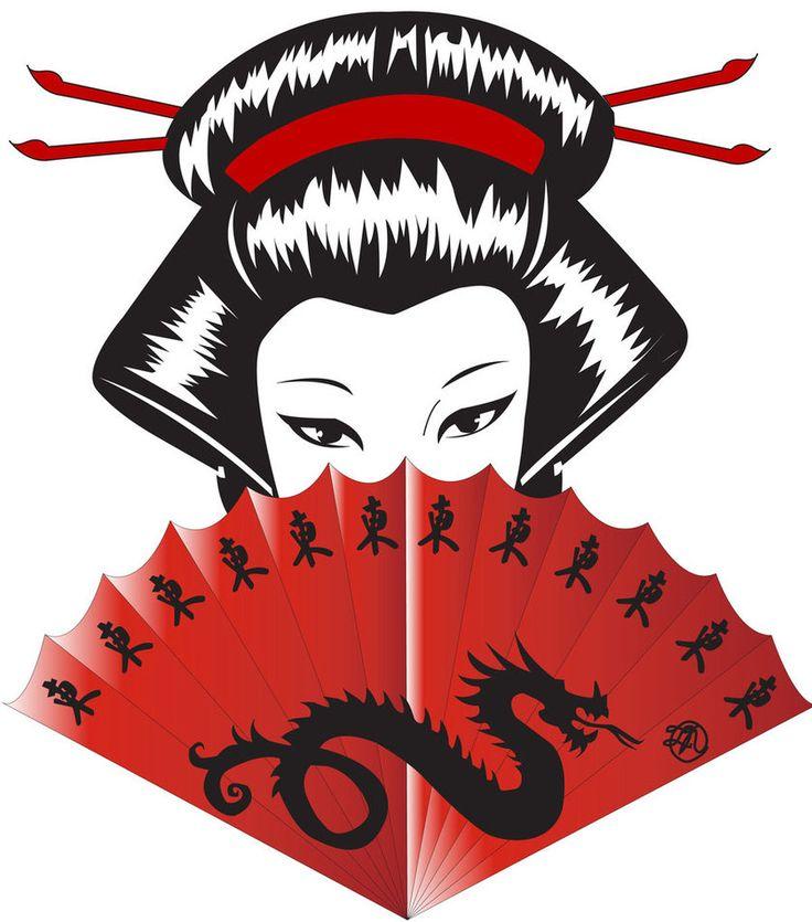 Japanese Dragon Red Fan Geisha Art  by DeADMems  Tattoo Flash Idea