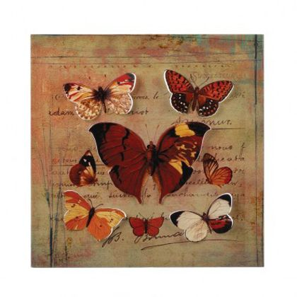 <p>Let the rich rustic color enhance your home all year long by way of this striking metal wall art. A flurry of beautifully detailed cutout butterflies rest upon a postcard background.</p>
