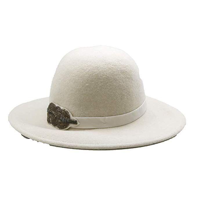 fe9617f6eaabb White Wool Felt Fedora Hat with Leaf Decoration- Women s Accessory ...