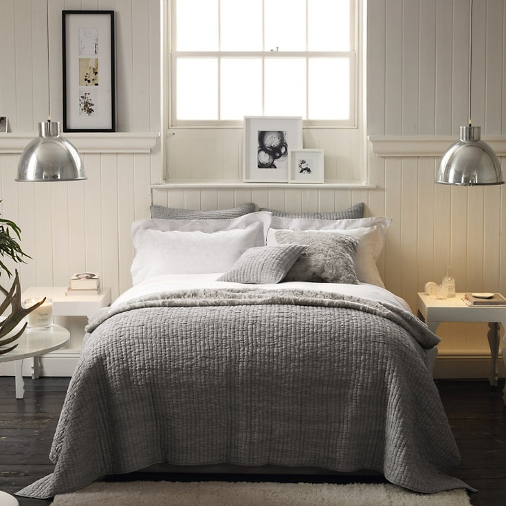 Simple Bedroom - grey tone can be the background for many colors. Later on when you want to give your bedroom a new look, simple change the bedsheet, or the painting, the lights...