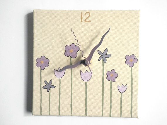 Kids wall art Wall clock Hand painted on canvas Green by Shellyka, $25.00