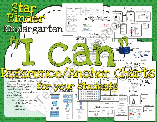 Take Home Anchor Charts : Impress Your Students & Their Parents from Selma Dawani Educational Therapy on TeachersNotebook.com (14 pages)  - The STAR binder is a set of reference sheets to use with kindergartners during circle time. I like to use each sheet as I can statements before and after introducing lessons, so that the student has a type of anchor chart they can take home wi