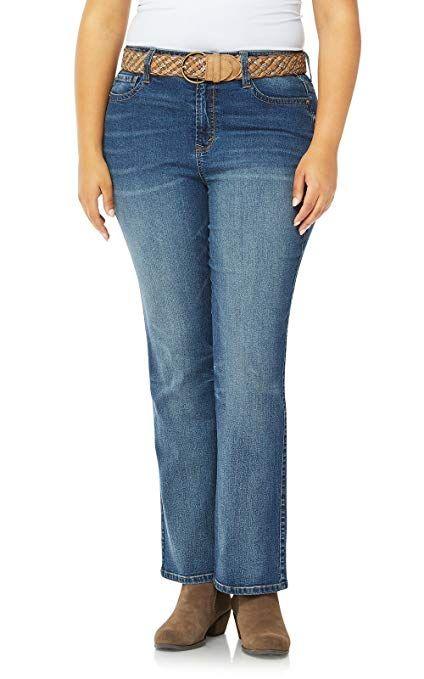 343d885e4f9 WallFlower Womens Juniors Plus-Size Belted Low-Rise Legendary Slim Bootcut  Jeans in Galaxy