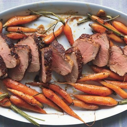 Spice-Rubbed Pork Tenderloin with Roasted Baby Carrots Recipe