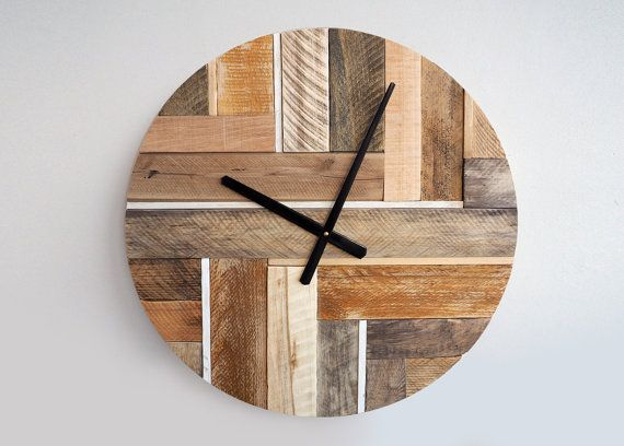 Handmade wooden wall hanging clock with metal hands is made from real weathered wood. This big vintage charming clock will make a statement in any