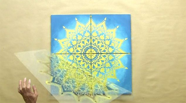 create custom canvas artwork in an hour with a mandala stencil