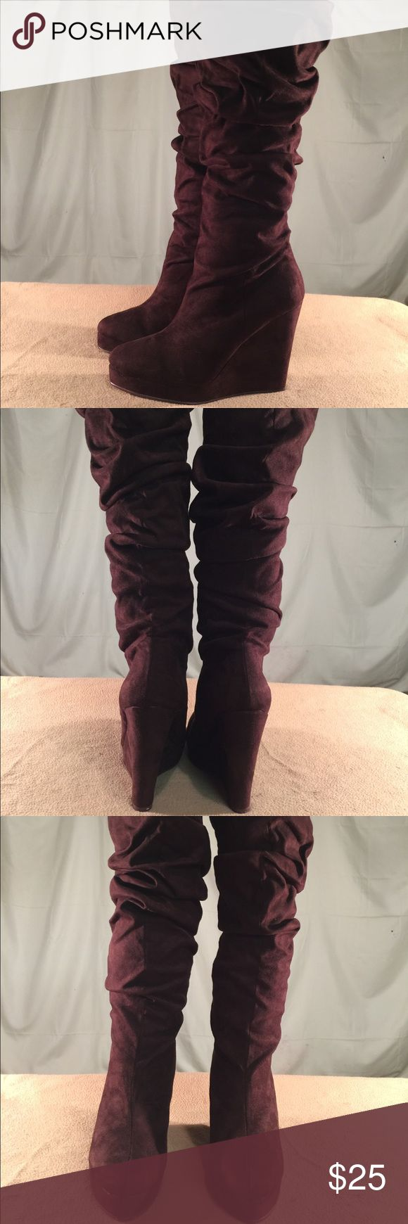 Michael Antonio Brown Above The Knee Suede Boots These boots have been Very Gently Worn and are in PERFECT CONDITION. The wedge height of these boots is 4.5 inches tall and these are Slip On boots. They do not have a zipper. Michael Antonio Shoes Over the Knee Boots