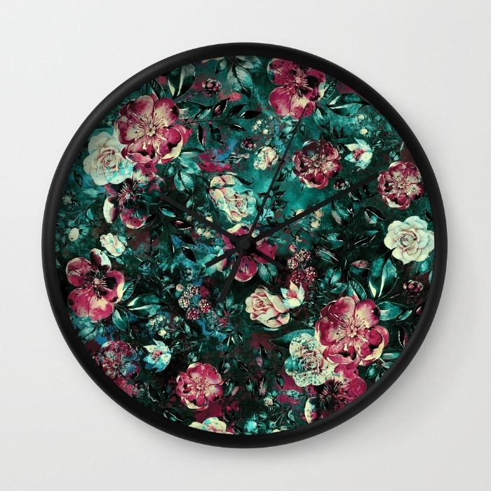 Floral Nights Wall Clock #floral #abstract #pattern #collage #botanical #dark #leaves #colors