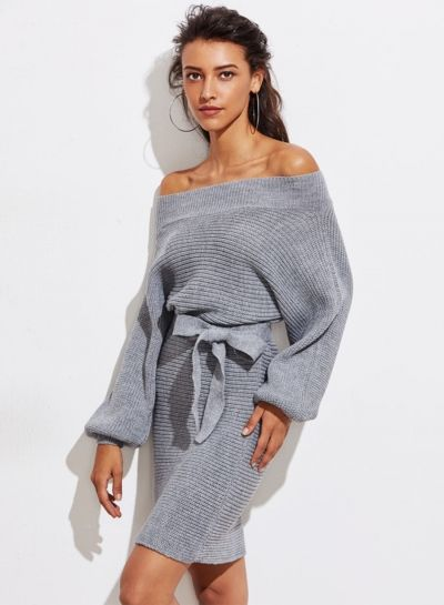 Off Shoulder Sweater Dress with Belt novashe.com