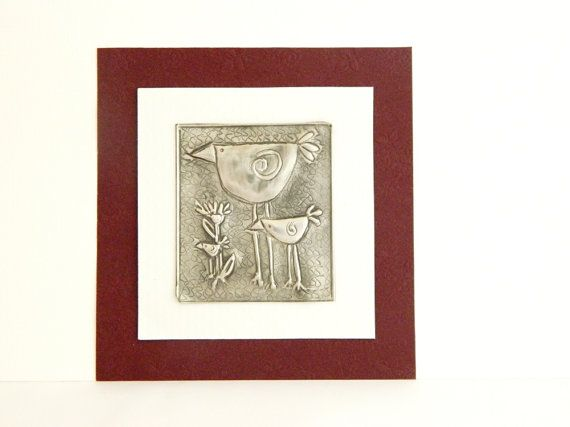 Embellishment Pewter Embossed Bird Family Motif by Loutul on Etsy, £3.50