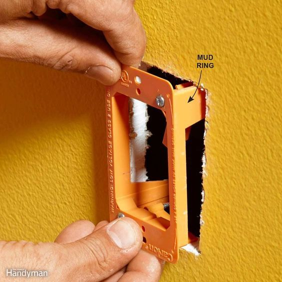 """Mud rings, also called drywall brackets or low-voltage """"old-work"""" brackets, are great for protecting the drywall when you're drilling with a flex bit or cranking on a glow rod. They're easy to install (just tighten two screws) and inexpensive. Once the wires are connected, you can screw the wall plate to the mud ring. Mud rings are approved only for low-voltage wires like communication and coaxial cables. If you need to install a regular gang box for an electrical receptacle or wall switch…"""