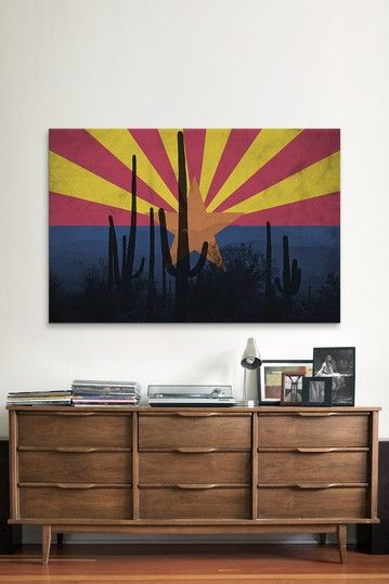 Arizona Flag & Grunge Cactus Canvas Print on HauteLook